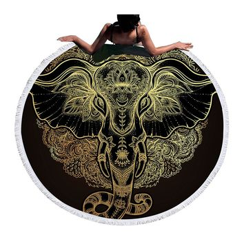 BeddingOutlet Large Round Beach Towel for Adults Boho Printed Toalla Tassel  Elephant Blanket Sunblock Cover Up