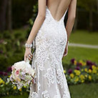 Sexy Backless Bridal Gowns Lace Wedding Dresses Custom Size 2 4 6 8 10 12 14 16+