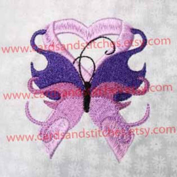 "Awareness Ribbons - Two Designs Butterfly & Heart - Machine Embroidery Design - Instant Download - 4""x4""  - 7 Formats Included"