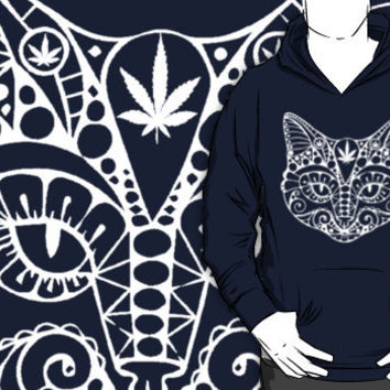 cat with pot leaf hoodie