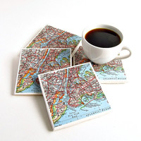 New York Map Coasters / NYC Coasters  / Holiday Hostess Gift / Christmas Gift for Parents / Gifts Under 40 / Gifts for Him / Home Decor Gift