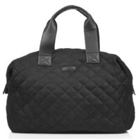Quilted Mesh Luggage Bag - Black
