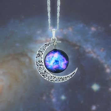 Galaxy Necklace Crescent Moon Necklace Multicolor Galactic Cosmic Moon Necklace