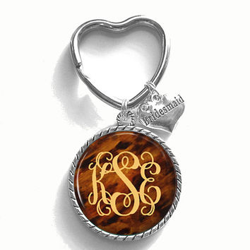 Bridesmaid Gift, Monogram Key Chain, Personalized Keychain, Wedding Party Gift, Style 493