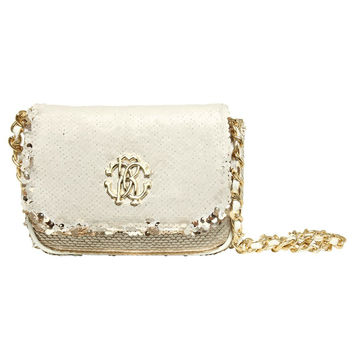 Girls White and Gold Sequins Shoulder Bag