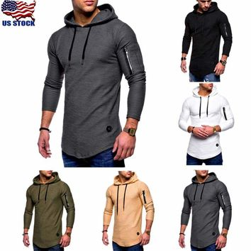 Men Slim Fit Athletic Gym Muscle Hoodies T-shirt Tops Hooded Long Sleeve Blouse