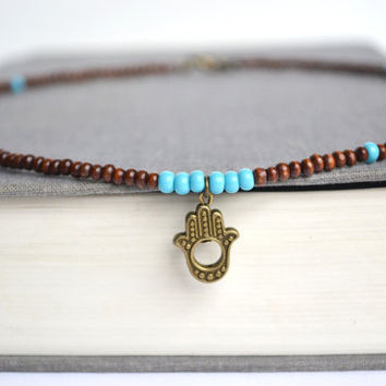 Wooden Beach Necklace, Wooden Hamsa Brass Charm, Beads Turquoise Beaded Necklace, Beach inspired Jewelry, Unisex Earthy Necklace