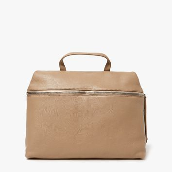 Kara / Pebble Leather Satchel in Camel
