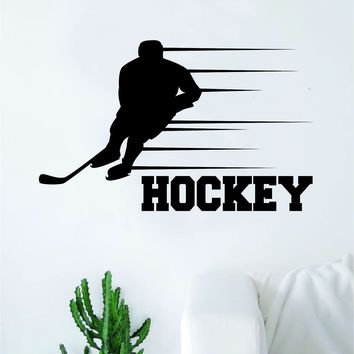 Hockey Player V6 Wall Decal Sticker Vinyl Art Bedroom Room Home Decor Quote Kids Teen Baby Boy Girl Nursery School Fitness Inspirational Ice Skate NHL