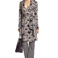 Bruna Metallic Woven Wrap Dress