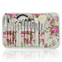 Dragonpad Professional 12 Pcs Makeup Cosmetics Brushes Set Kits with Rose Pattern Case
