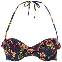 Navy Floral Push Up Bikini Top - Swimwear - Topshop
