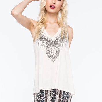 Others Follow Lace Back Womens Tank Cream  In Sizes