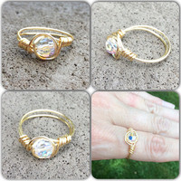 Ring Swarovski wire wrap gold plated custom size