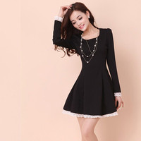 Women Puff Dress Long Sleeve Doll collar Lace Patchwork Lace-up Back Pleated Mini Dress