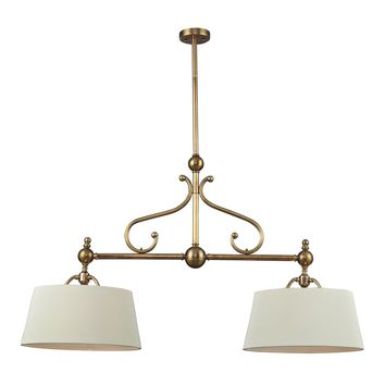 Hadley 2 Light Pendant Brass & Steel Sparkling White Diffuser Shade