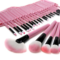 32 Piece Makeup Brush Set with Pink Pouch