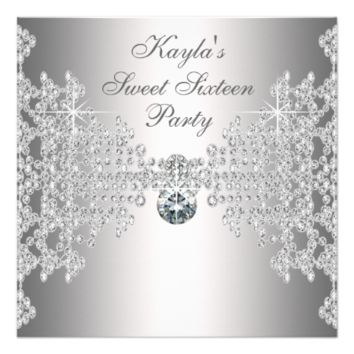 Silver Diamonds White Sweet Sixteen Birthday Party 5.25x5.25 Square Paper Invitation Card