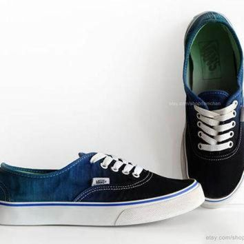 VLXZRBC Dip dye Vans Authentic, black, deep blue, ombr¨¦ tie dye, skate shoes, upcycled vintage
