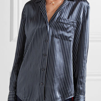 Equipment - Keira striped silk-satin shirt