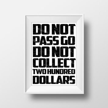 Gaming Poster, Monopoly Poster, Board Game, Do Not Pass Go