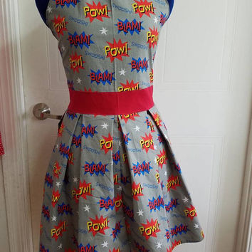 Vintage - style - comic - book - super - hero - print - halter - pleated - circle - skirt - rockabilly - rockabella - retro - pinup - dress