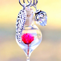 Miniature Terrarium Necklace Valentine's Day Gift Red Flower Pendant Leaf and Crystal Antique Silver Style Chain