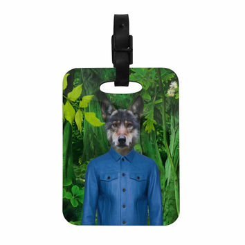"Natt ""Into The Leaves N3"" Green Wolf Decorative Luggage Tag"