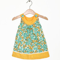 Baby dress, 6 to 12 months, zingy orange and turquoise, retro baby clothes, infant dress, baby girl dress, baby girl clothes UK