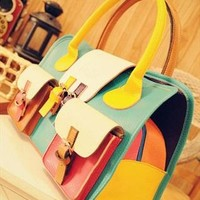 Candy Color Mix and Match 3 Pockets Tote Bag from topsales