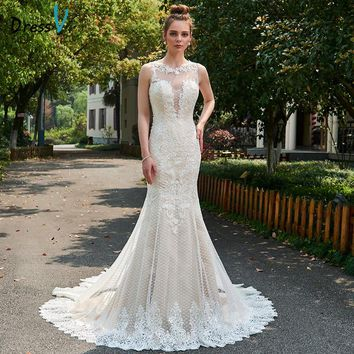 Dressv appliques lace wedding dress backless cathedral train bridal gowns elegant long outdoor&church mermaid wedding dresses