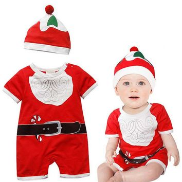 Hooyi Christmas Baby boys Rompers Hat Sets Short Sleeve Santa Snowman X'mas Gift Baby Clothes baby costumes
