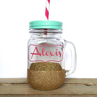 Mason Jar Tumbler - Personalized Gold Glitter Mason Jar Mug, Valentines Day Gift, Bachelorette Party Glass, Bridesmaids Gift, Wedding Glass