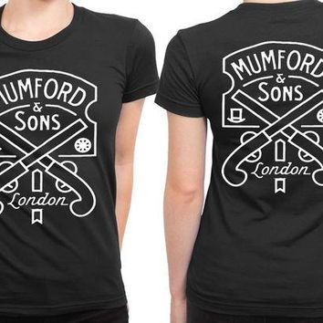 DCCKG72 Mumford And Sons Logo Two Pistols And London 2 Sided Womens T Shirt