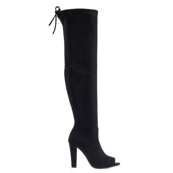 DasiaH3 Black By Forever Link, Over Knee / Thigh High Boot w Peep Toe, Chunky Block Heel & Rear Tie