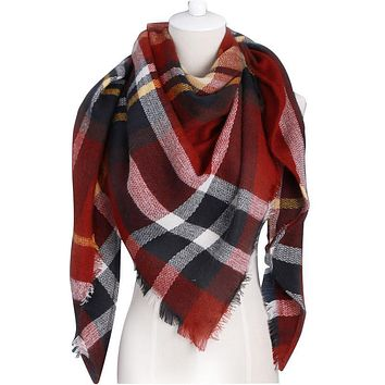 Winter Scarf 2016 Brand triangle Tartan Cashmere Scarf Women Wool Plaid Blanket Scarf Pashmina Wrap Shawls and Scarves Hijab