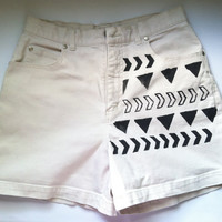 Aztec Inspired Denim Cuffed Shorts