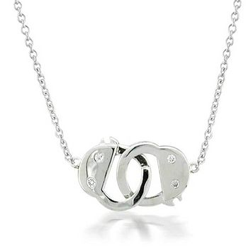 Handcuff Necklace Lock CZ Partners in Crime Sterling Silver Pendant