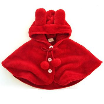 Newborn Baby Girls Red Cloak Autumn Winter Infant Thicken Warm Cute Burnoose Bebe Birthday Gifts Dress Clothing