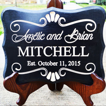 Personalized Family Name Signs Custom Wedding Gift Wood Carved Sign Last Name Established Wood Plaque Couple Anniversary Engraved Home Décor