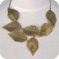 SALE! Bronze Leaves Big Fake Collar Evening Necklace