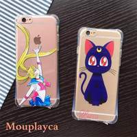 "New TPU shell for iphone 5 5s & SE & 6 6s 4.7"" & 6 6s plus 5.5"" phone cases Cute cartoon Sailor Moon pattern soft TPU back cover"