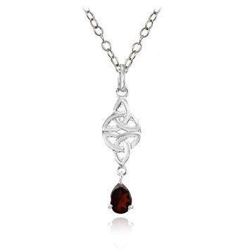 Celtic Trinity Knot Teardrop Garnet Necklace in Sterling Silver