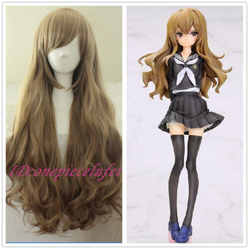 free shipping New wig Cosplay Dragon X Tiger/ Aisaka Taiga Long Pale Brown Curly Wig + Free wig cap