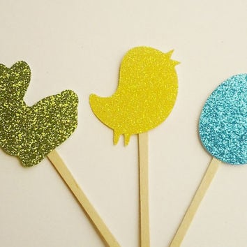 Easter cupcake toppers, bunny toppers, easter dinner decor, chicks, kids easter party, glitter toppers, class party, happy easter