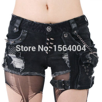 Punk Rave Rock Hot Shorts Visual Kei Cotton Heavy Metal Chain Jeans short pants S-3XL