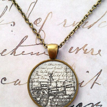 Train Necklace, Steampunk, Machines, Engines, Trains, Industrial, Pendant T29