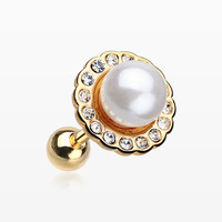 Golden Pearl Blossom Sparkle Cartilage Tragus Earring