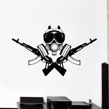 Vinyl Wall Decal Assault Rifle Weapon Military Soldier Video Game Gamer Stickers Unique Gift (2027ig)