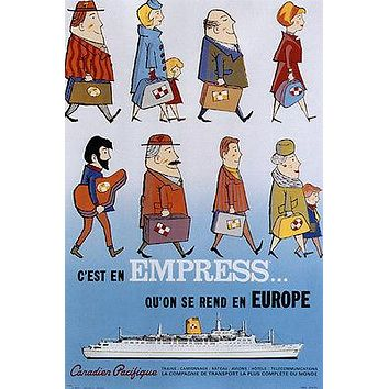 empress that goes to europe VINTAGE TRAVEL POSTER CANADA 1963 24X36 very rare